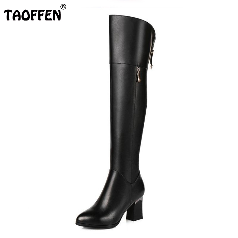 Women Genuine Real Leather Over The Knee Boots Winter Boots Sexy High Heel Fashion Round Toe Zipper Women Boots Shoes Size 33-42 women winter genuine leather low heel rivets pointed toe side zipper fashion over the knee boots plus size 33 43 sxq1013