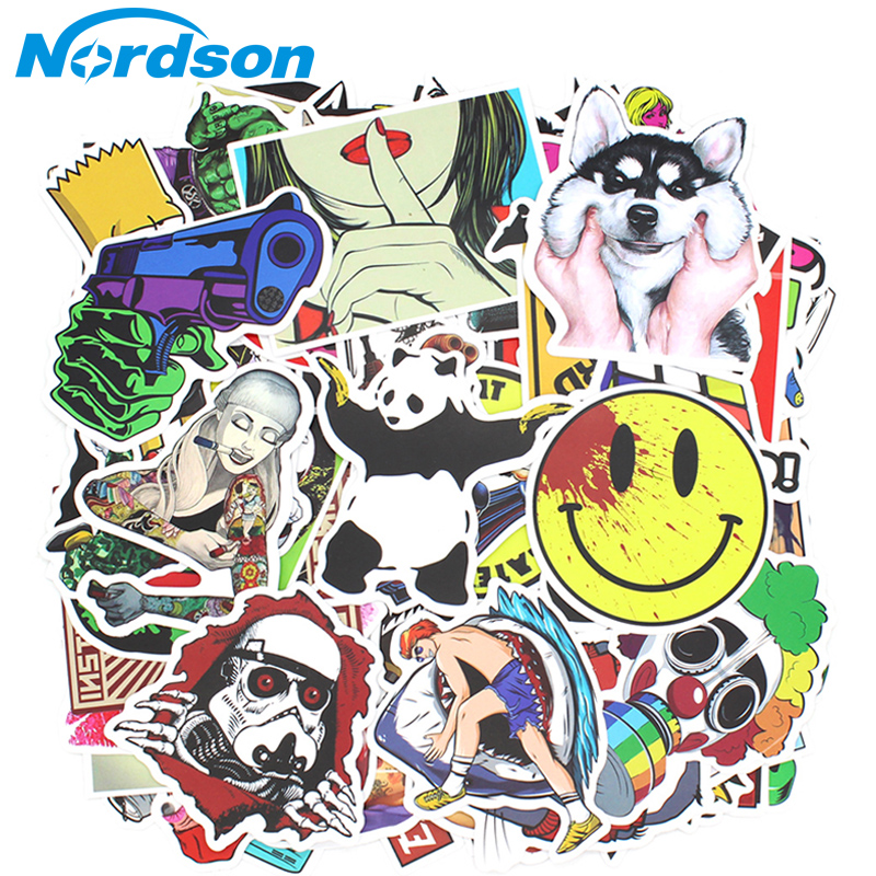 200 PCS Random Vinyl Skateboard Travel Case Helmet Sticker Decal ATV Motorcycle Car Stickers Fashion Rossi Funny Sticker Bomb-in Decals & Stickers from Automobiles & Motorcycles