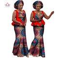 BRW 2017 Bazin Riche Africana Imprimir Camisa Corta Falda y Top Ropa de Algodón Sin Mangas de Dos Piezas Conjunto Africano Dashiki para Las Mujeres WY1161