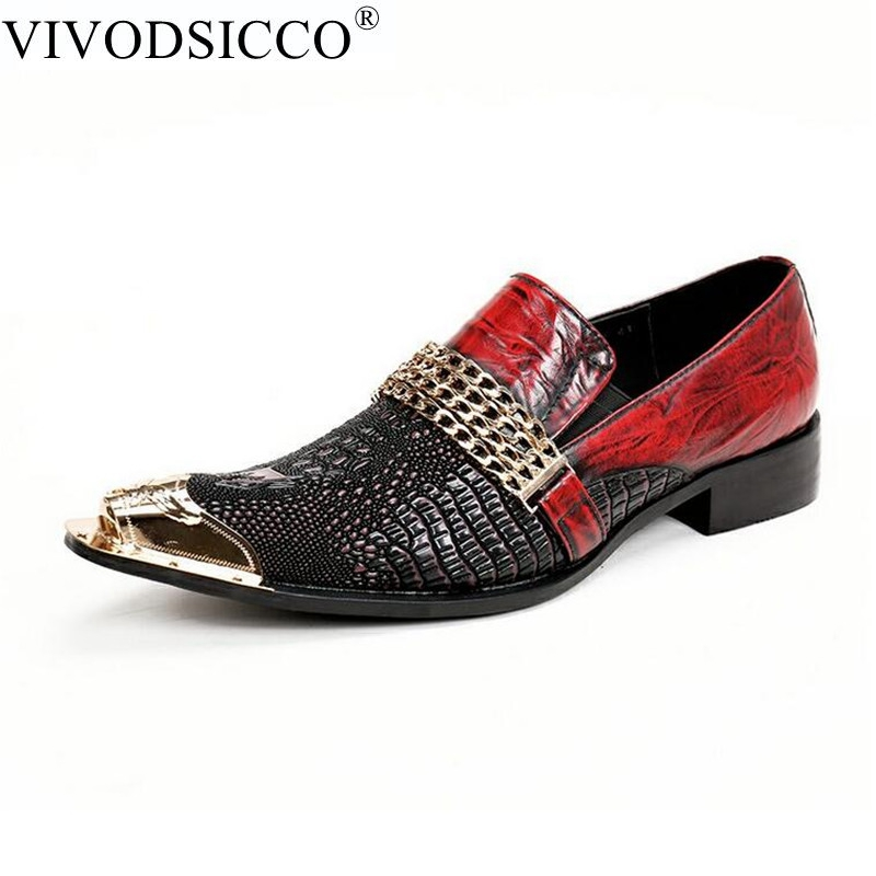 VIVODSICCO Fashion Italian Men Dress Shoes Retro Genuine Leather Crocodile Grain Men Shoes Party Wedding Slip on Men Flat Loafer sinoextreme italian leather handmade crocodile embossed men loafer shoes leisure shoes slip on shoe luxury breathable men shoes