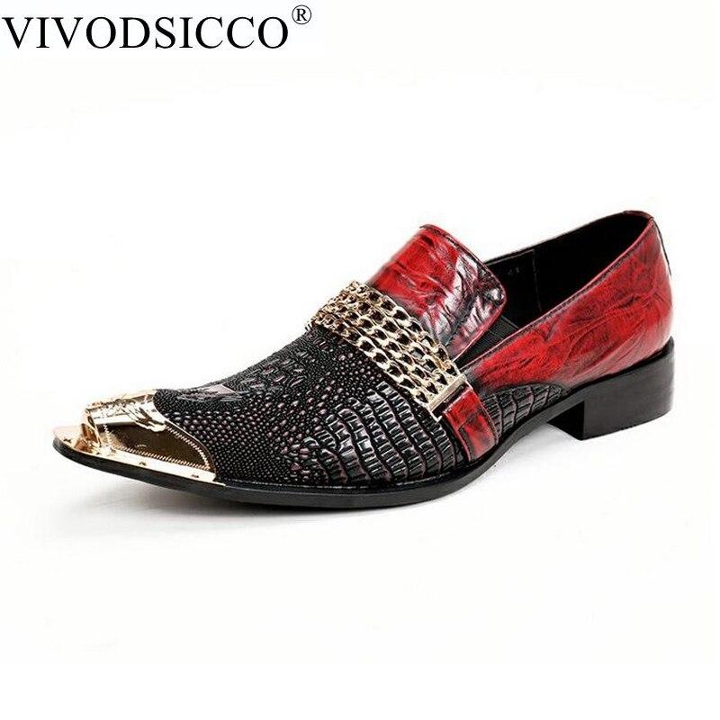 moda zapatos VIVODSICCO vestir hombres Retro italiana del de grano dCgA1nq7xg