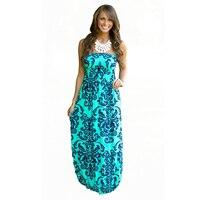 2016 Summer Women Long Beach Dress Bohemian Sleeveless Floral Printed Sexy Strapless Boho Maxi Dress Sexy
