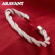 Nowe mody biżuteria ze srebra próby 925 Twist bransoletki otwarte mankietów bransoletki dla kobiet urok biżuteria zaręczynowa prezenty
