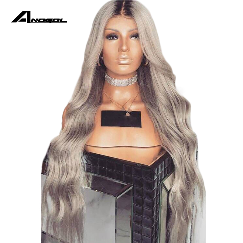 Anogol Long Deep Wave Synthetic Grey Lace Front Wig With Baby Hair Heat Resistant Wig 180% Density Ombre Wigs For Black Women