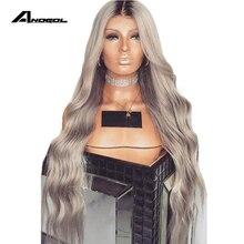 Anogol Uzun Derin Dalga Sentetik Gri Dantel ön peruk Bebek Saç Ile Isıya Dayanıklı Peruk 180% Yoğunluklu Ombre Peruk kadın