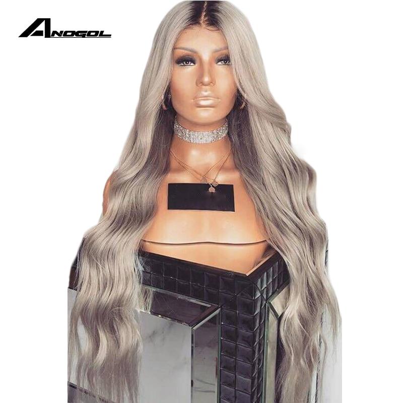 Peruca resistente ao calor do laço do cinza sintético da onda  longa de anogol peruca dianteira do laço com cabelo do bebê 180%  densidade ombre perucas para pretoPeruca sintética