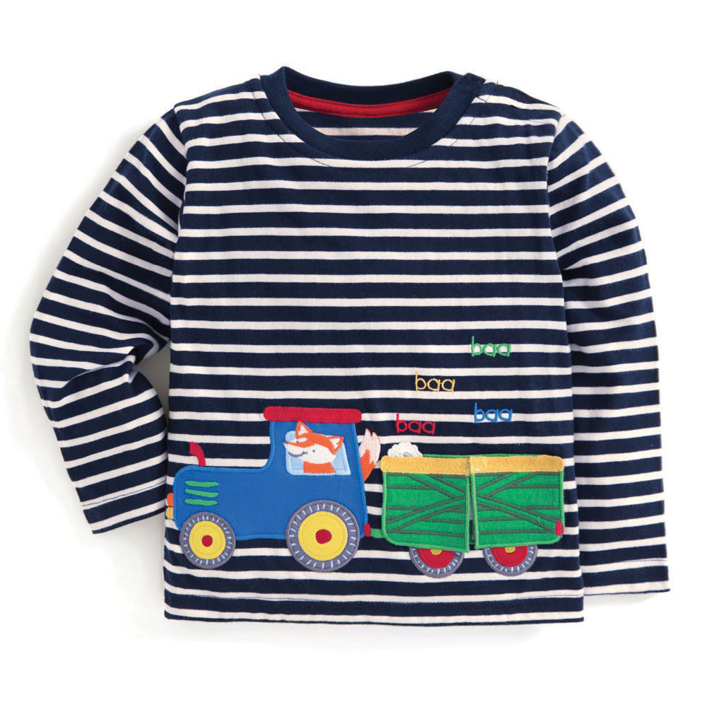 Jumping Meters Baby Boy Clothes Long Sleeve Tops Kids T shirt with Animal Applique Cotton Children T shirts for Boys Clothing crew neck color block triangle applique long sleeve t shirt