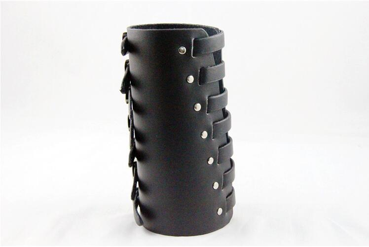 Esihou Star Cosplay Props Style Punk Rock Button Leather Wrist Strap Cuff Acc Wrist Support Guard Costume Props