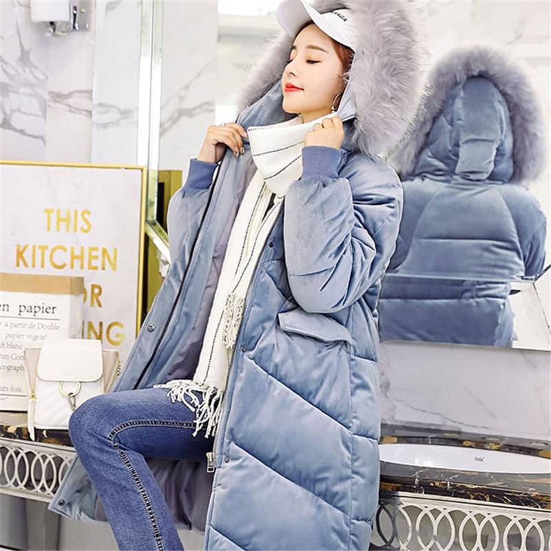 Coton Blue Pink 2018 Manches Black khaki De Survêtement À gray Col Chaud Long gray Fourrure Veste Femmes Femme Cw460 Capuche Nouveau Parkas Longues Thicking Moyen Hiver Dames F84xEgqwca