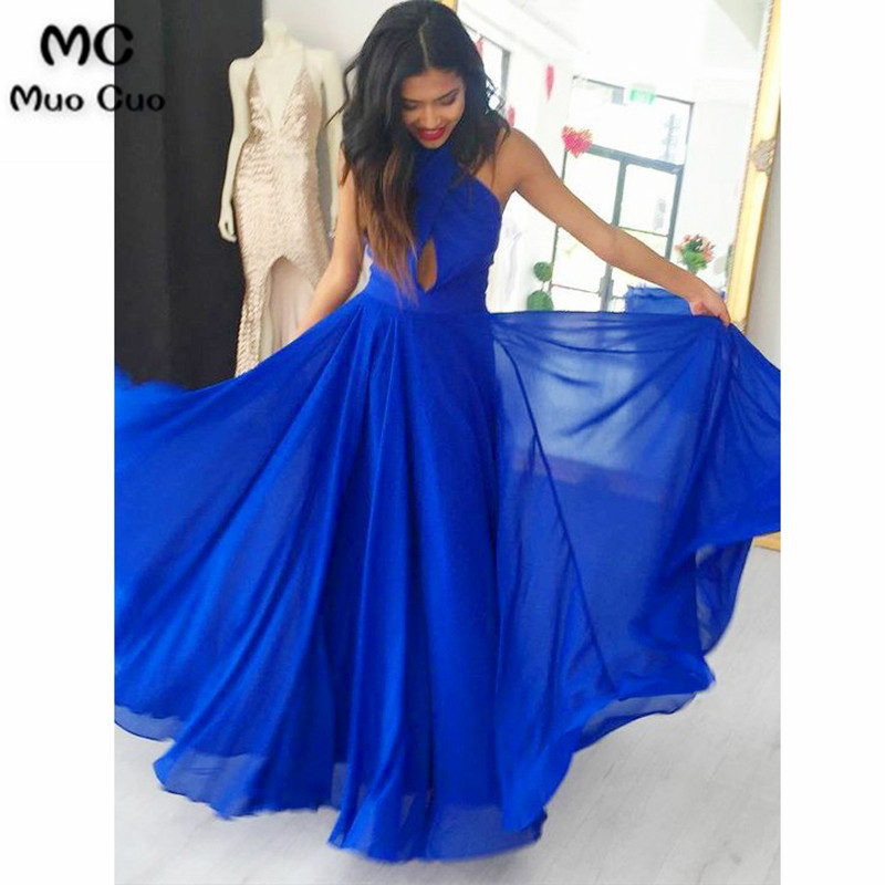 Elegant 2018 Royer Blue   Evening     Dresses   Long Pleat Halter Criss Cross Chiffon Formal   Evening   Party   Dress   for Women