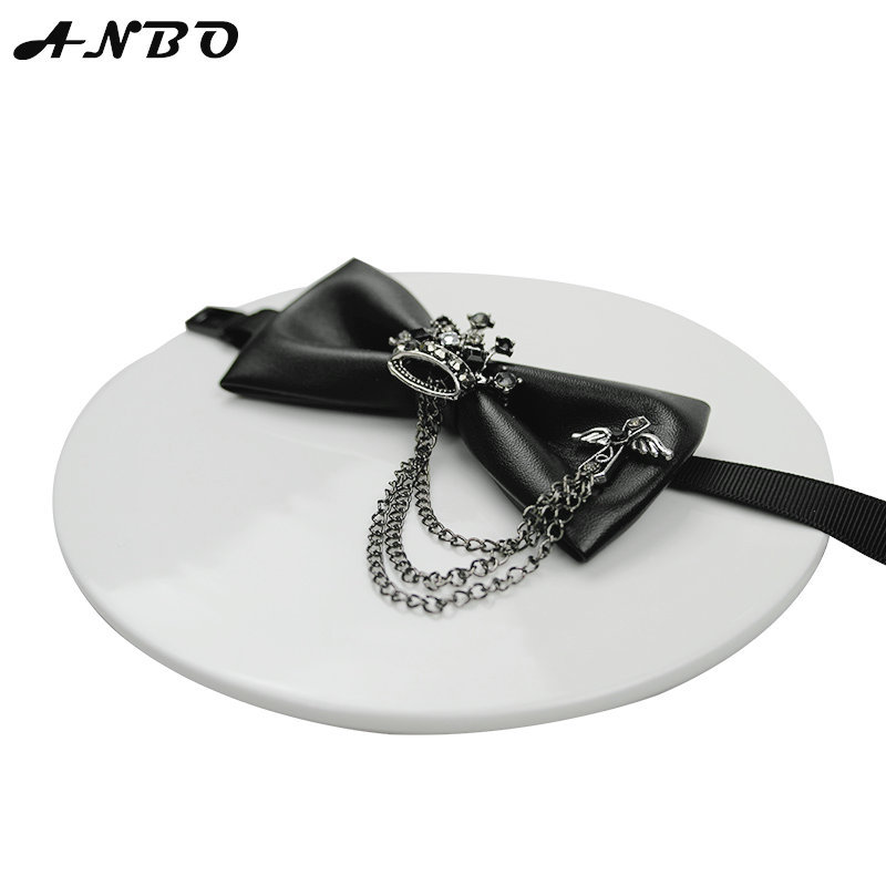 Fashion Crown Leather Elegant Gentleman Bow Ties Butterfly Wedding Party Bow Ties Butterfly Noble Original Design Bow Tie