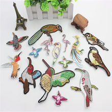 1PCs Bird Patches Stripes Clothing Embroidered Iron-On Applications Patches Applique Stickers For Clothes Badges russia logo letter embroidered patches for clothing diy stripes applique clothes stickers iron on creative badges biker parches