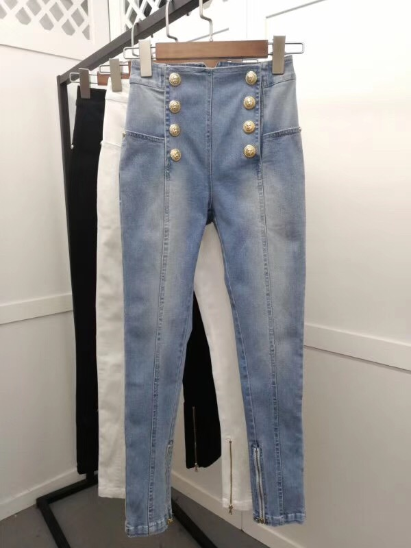 New Summer European Female Fashionable Tone Custom Double Row Gold Buckle Cultivate Morality Show Thin Joker Jeans