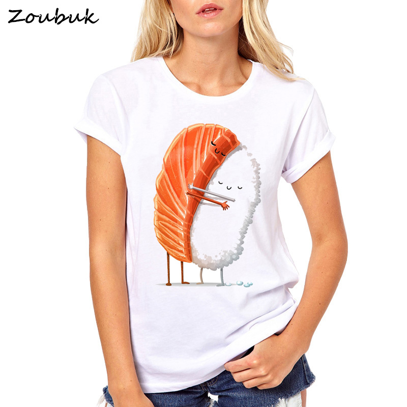 Harajuku Sushi Liebe T-shirt Frauen Kurzarm Sushi Umarmung Mops Beiläufigen Losen T-Shirt Lustige T Kühle Tops