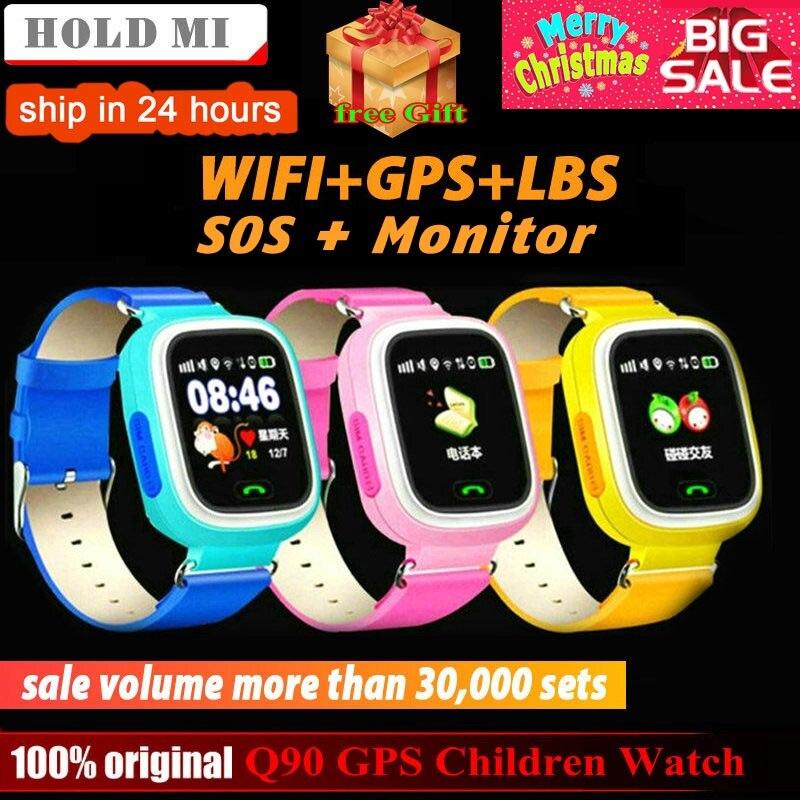 Q90 Posição Crianças Relógio GPS Criança Telefone Do Relógio Inteligente 1.22 polegada Cor da Tela de Toque WIFI SOS Inteligente Relógio Bebê Q50 q80 q60 Relógio
