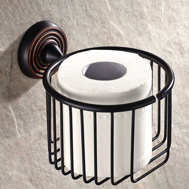 Paper Holders Solid Brass Wall Toilet Paper Basket Holder Bath Tissue Holder Bathroom Accessories Black WC Paper Roll Holder1217 black of toilet paper all copper toilet tissue box antique toilet paper basket american top hand cartons