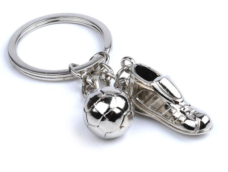 100pcs lot Novelty 3D Soccer Football And Shoes Keychain Car Key Ring Bag Charms Pendants Key