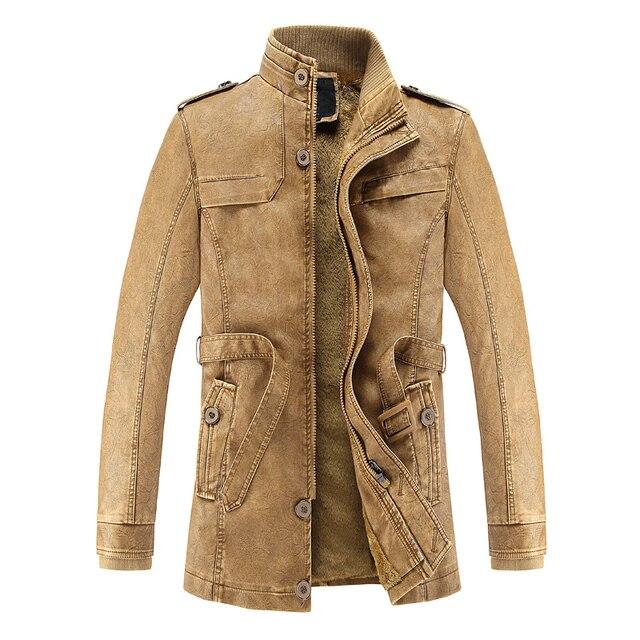 7468cb1fc3 US $41.82 49% di SCONTO|Origine del marchio Uomini Moda In Pelle di  Camoscio di Spessore Lungo Inverno PU Uomini Giacca di Pelle Moto Tuta  Sportiva ...