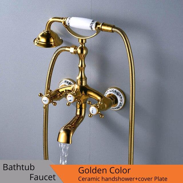 Luxus Badewanne Armaturen Gold Messing Bad Wasserhahn Mischbatterie