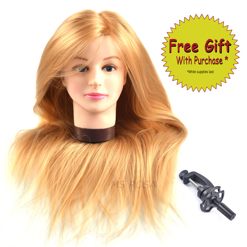 Hearty Synthetic Mannequin Head Female Hair Head Doll 22 Inches Mannequin Doll Head Hairdressing Training Heads Styling With Fiber