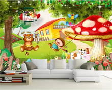 купить Beibehang Custom 3D Photo Mural Wallpaper Children's room mushroom room cartoon forest animal plane Mural  Bedroom 3d Wallpaper по цене 576.41 рублей