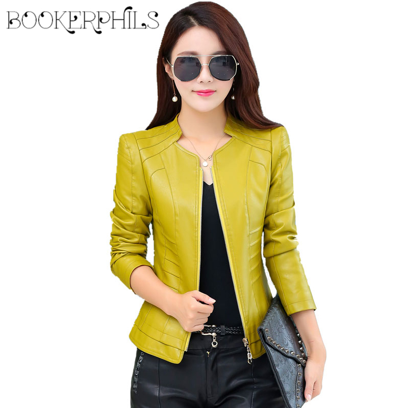 2018 Casual Long Sleeve Women Soft PU   Leather   Jacket Outerwear Winter Autumn Female Slim Faux   Leather   Coat Ladies Jacket M-4XL