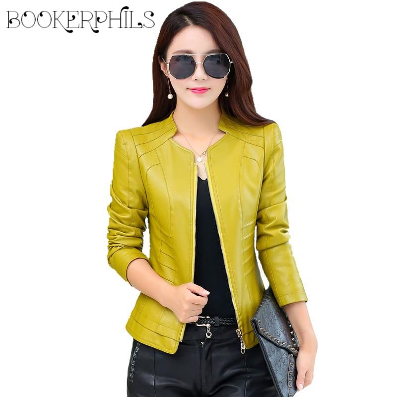 2018 priložnostne ženske z dolgimi rokavi, mehka PU usnjena jakna, - Ženska oblačila