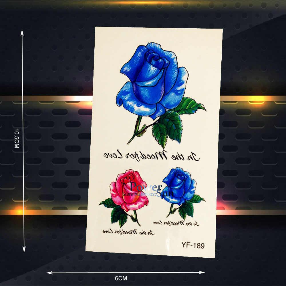 الأزرق روز زهرة نساء حزب ماكياج للماء وهمية الوشم الوشم المؤقت ملصقات الحناء وشم مثير يؤرخ PYF-189 ملصقا
