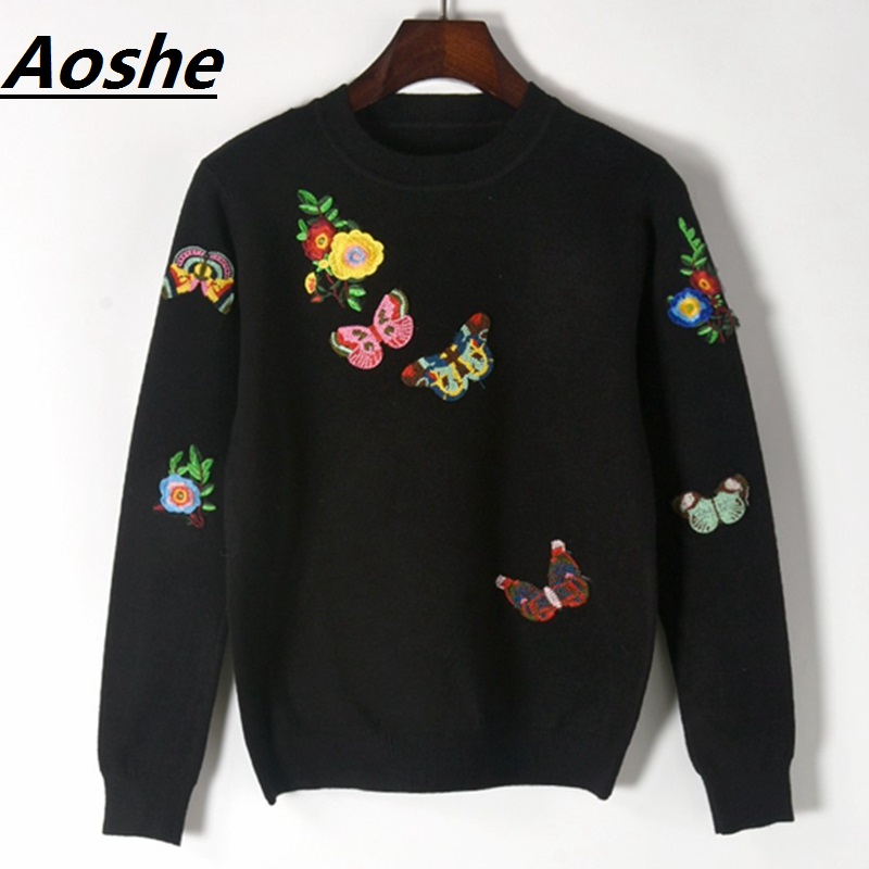 Designer Pullover Sweater Women Fashion 2018 Autumn Winter Butterfly Patchwork Basic Casual Slim Knitted Sweater Jumpers