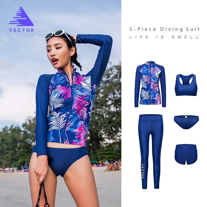 VECTOR Super Strech Surfing Diving Rash Guards for Women Swimming Rowing Sailing Surfing Rashguards Wetsuit 5 Piece Swimwear цена
