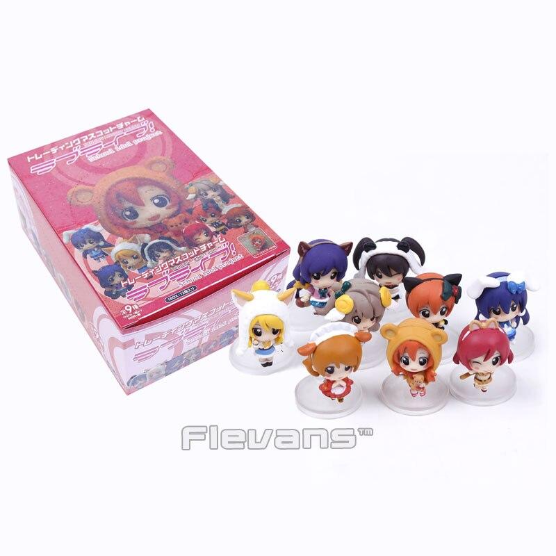 где купить Love Live! School Idol Project Cosplay Doma Umaru Q Version Mini PVC Figures Collectible Model Toys 9pcs/set 4~5cm Boxed по лучшей цене