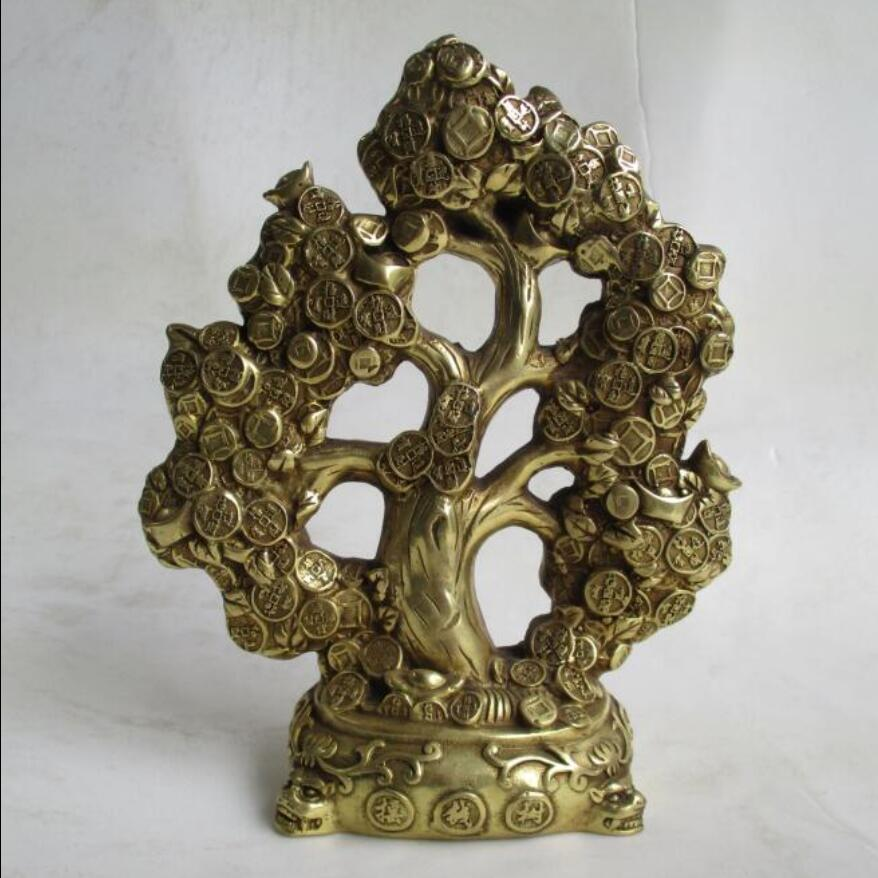 wedding decorations art collection chinese brass carved christmas tree home decoration feng shui. Black Bedroom Furniture Sets. Home Design Ideas