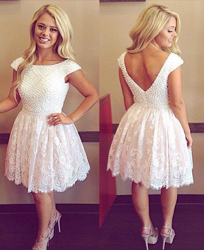 Sexy Lace Short Prom perla elegante vestido de espalda abierta blanco vestidos fiesta vestidos dulce 16