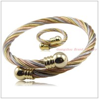 New Charming Jewelry Set 316L Stainless Steel Silver Gold Wire Chain Tone Womens Mens Cool Rings