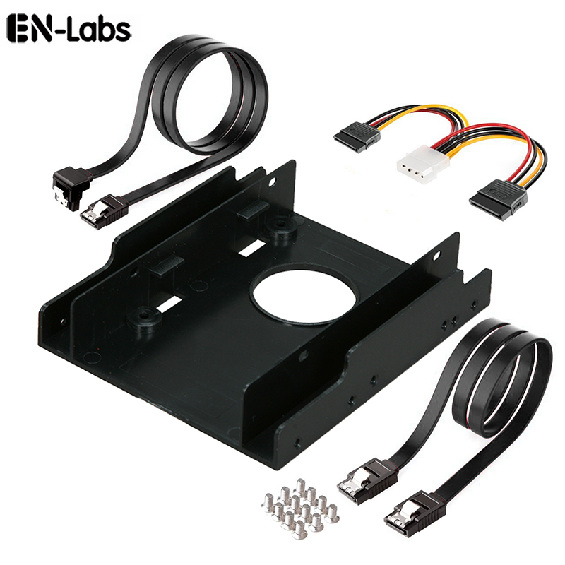 En-Labs 2 x SATA 3.0 Data Cable and Power Cable Kit w/ 3.5-Inch to x 2 SSD / 2.5-Inch Internal Hard Drive Bay Plastic Mounting