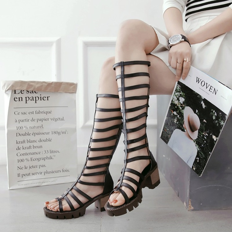 2018 Summer Beach Gladiator Sandals Women Cutouts Over The Knee Cool Boots Square Heel Shoes Woman Casual Women Platform Shoes rhinestone silver women sandals low heel summer shoes casual platform shiny gladiator sandal fashion casual sapato femimino hot