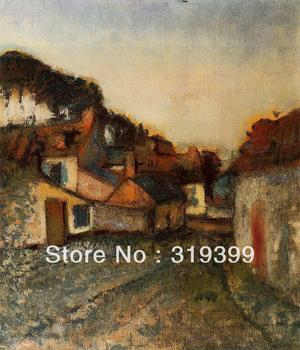 Oil Painting Reproduction on Linen Canvas,Village Street by edgar degas,Free DHL Shipping,100%handmade