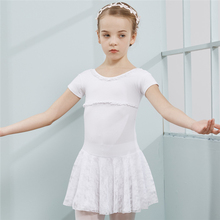 Combed Cotton Ballet Dress Tutu for Girls Kids Children High Quality Short Sleeves Tulle Dance