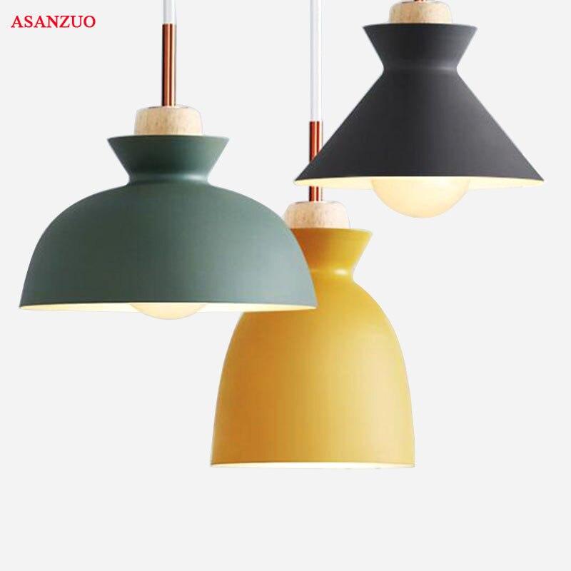 Moda Coloridas de Madeira Pingente Luzes Lâmpadas de Alumínio design Moderno sombra Luminária Lâmpada Sala de Jantar Luz Pingente Macaron