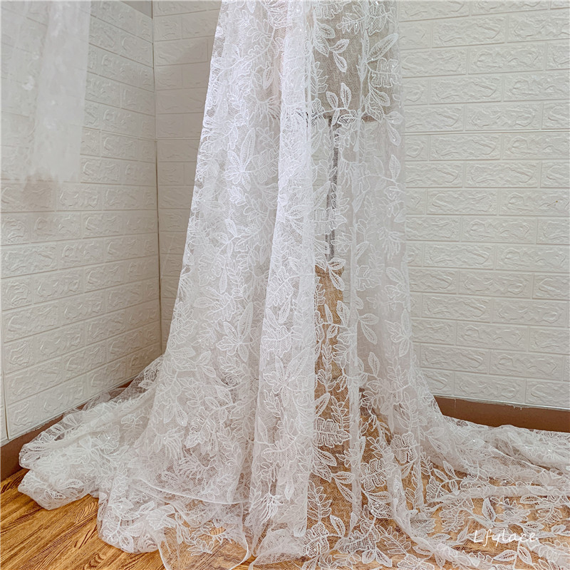 1 Yard Exquisite Flower Sequins Embroidery Mesh Lace Fabric Wedding Dress Fabric