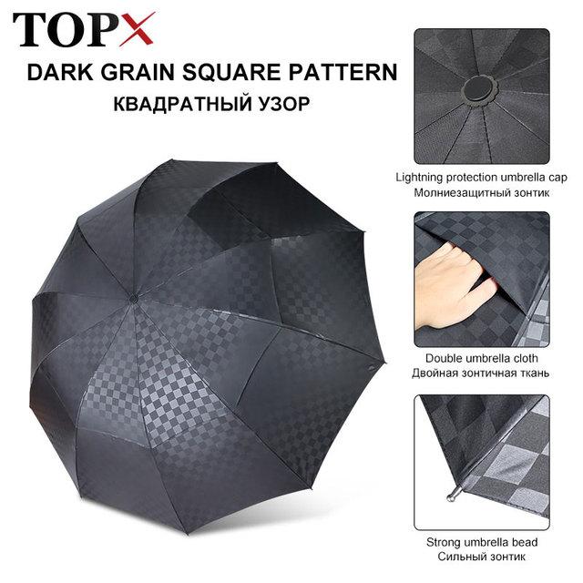 Двойной слой большой зонт дождь для женщин и мужчин 3 складной 10 к ветрозащитный бизнес Зонты мужские темные сетки зонтик семья путешествия Paraguas