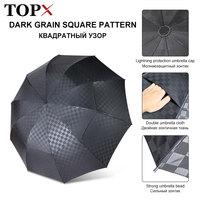 Dupla camada grande guarda chuva chuva feminino 3 dobrável 10 k à prova de vento guarda sóis negócios masculino grade escura guarda sol família viagem paraguas|Guarda-ch.| |  -