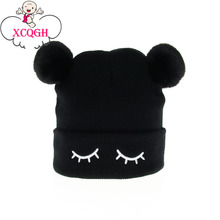 704e91bf989 XCQGH Cute Eyelash Pattern Infant Toddler Kids Baby Hat Double Pompom Ball  Knitted Baby Winter Hat
