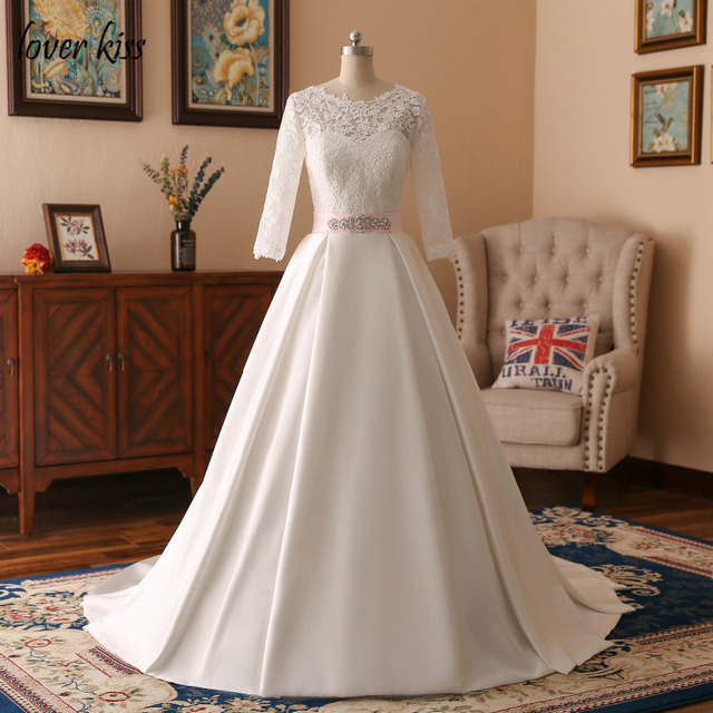 Lover Kiss Vintage Satin Lace Long Sleeve Wedding Dress With Train Low Back Bridal Gowns