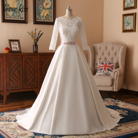 Lover Kiss Ball Gown Long Sleeve Sashes Wedding Dresses Appliques Lace Ivory Scoop Simple V Back