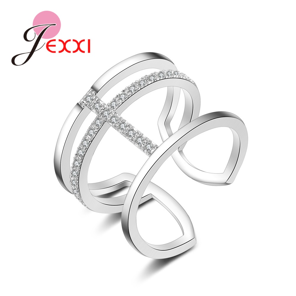 Explosion Models 925 Sterling Silver Wedding  Christmas Gifts 3 Rows Of Open Ring  Pliers Crystal Zircon Jewelry