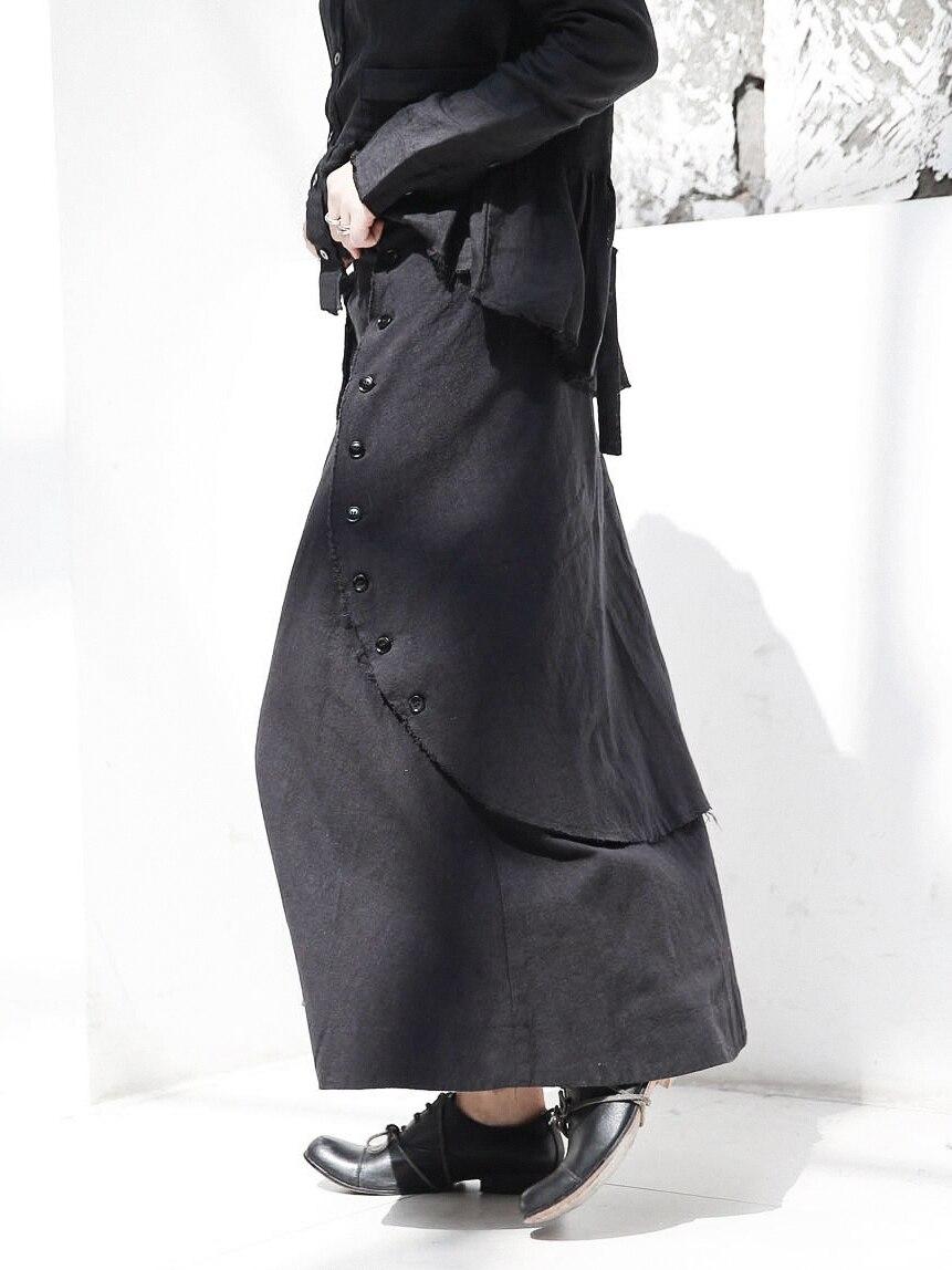 Botones 2018 Cakucool Nuevo Negro Algodón Otoño Faldas Falda Oscuridad Ropa Novedad Diseño Gótico Vintage De 8ddRrpqB