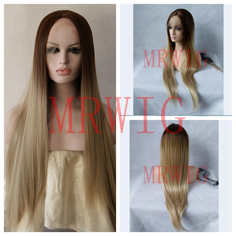 MRWIG Brown Ombre Blonde #26 Middle Part Real Hair Long Straight Real Hair 150% can Be Permed