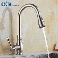 Azeta выдвижной кухонный смеситель 360 Вращающийся двойной выход воды одно отверстие на бортике Матовый никель кухонный кран AT7618BN