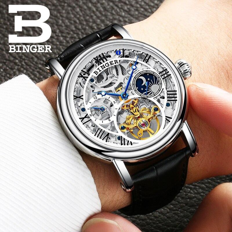 Luxury Brand Switzerland BINGER Watches Men Tourbillon Relogio Masculino water resistant Clock Mechanical Wristwatches B-1171-4